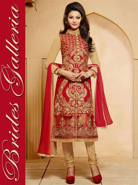urvashi rautela red faux georgette punjabi suit