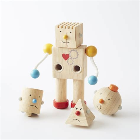 preschool robot toy plan toys build a robot wooden with 4 heads 539