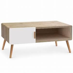 Table Basse Chene Clair : table basse ch ne clair et blanc scanda ~ Teatrodelosmanantiales.com Idées de Décoration