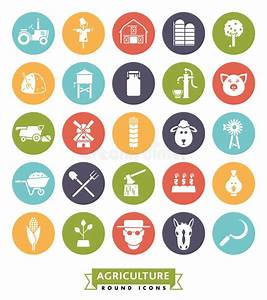 Agriculture And Farming Round Color Icon Set Stock Vector ...