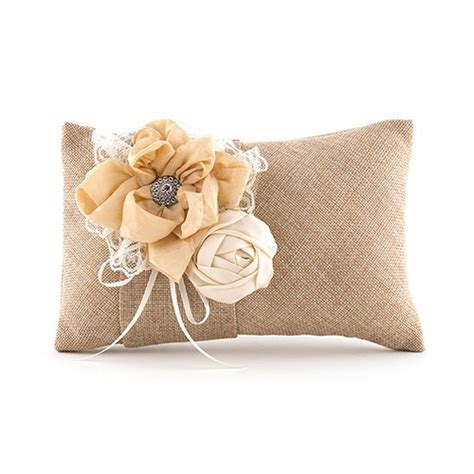 burlap chic ring pillow weddingstar