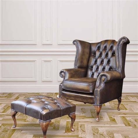chesterfield high back wing chair footstool designersofas4u