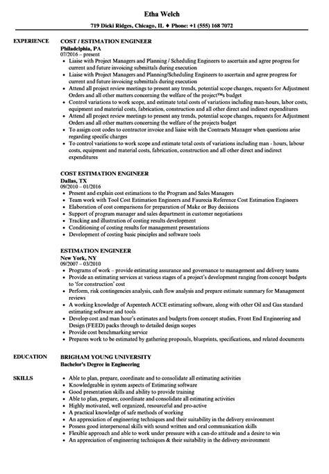 estimation engineer resume sles velvet jobs