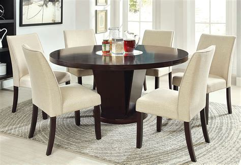 60 Inch Rees Espresso Round Dining Table With Lazy Susan