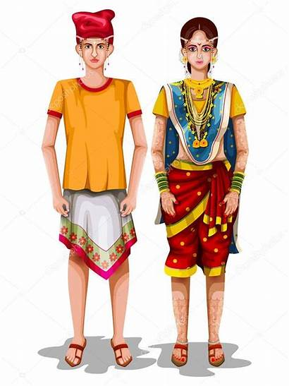 Traditional Goan Goa Couple Costume India Illustration