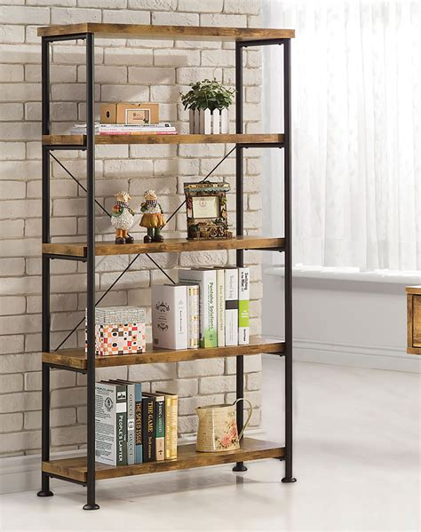 Small Metal Bookcase by Coaster Barritt Small Wood And Metal Open Bookcase