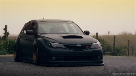 subaru cars black airsociety subaru wrx sti matte black work emotion bagged