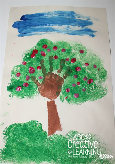 handprint apple tree kids craft