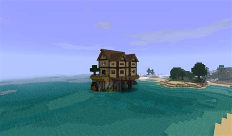 small cottage island house minecraft project