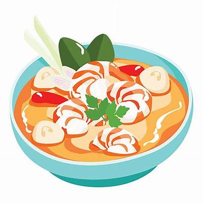 Yum Soup Tom Vector Thai Spicy Kung