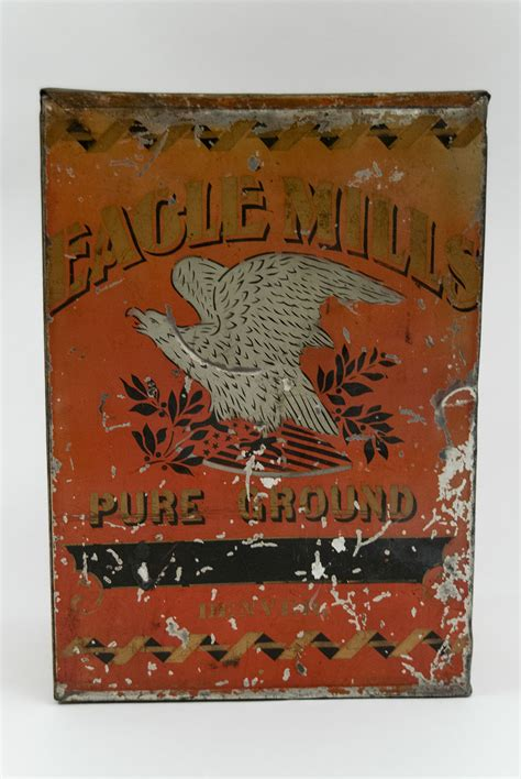 eagle mills antique american store tin  red gold