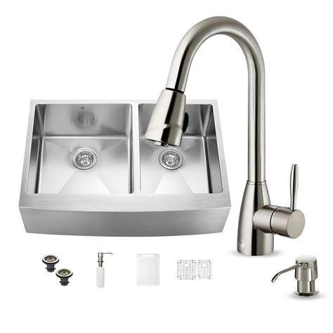 vigo kitchen sinks vigo all in one farmhouse apron front stainless steel 33 3150