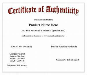 sample certificate of authenticity template 9 free With statement of authenticity template