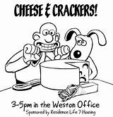 Crackers Cheese Drawing Sketch Template Coloring sketch template