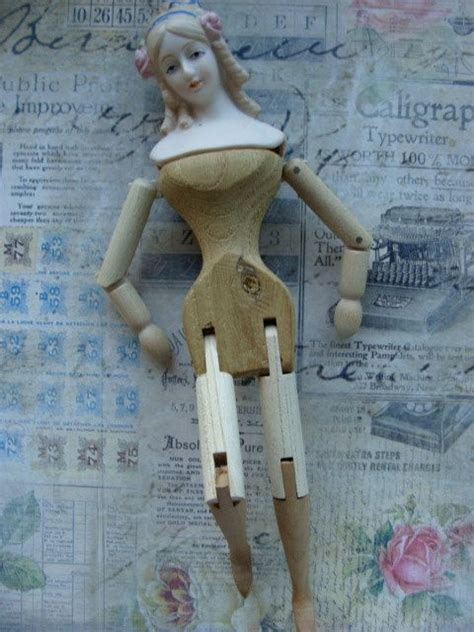 antique bisque  wooden jointed victorian shackman doll