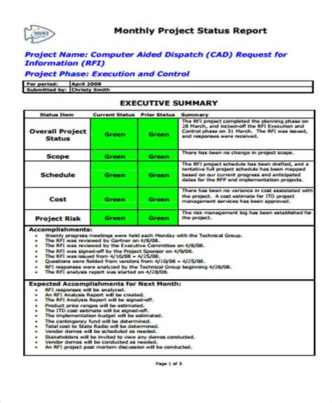 sample status report templates word