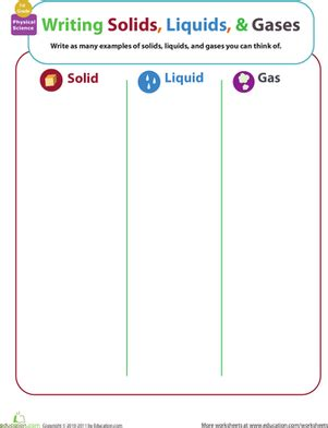 matter mixup writing solids liquids and gases