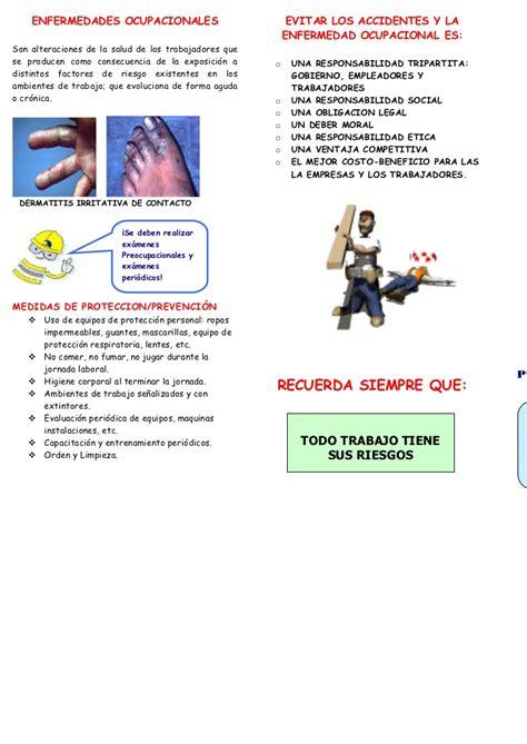 tripticos de prevencion de riesgos triptico que es salud ocupacional