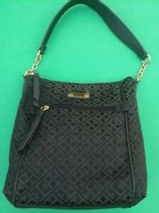 tommy hilfiger black  black monogram jacquard hobo shoulder bag ebay