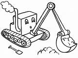 Digger Coloring Tractor Cartoon Drawing Pages Diggers Excavator Colouring Template Cute sketch template