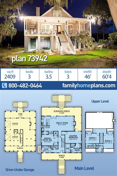 southern style home plan  drive  garage family home plans blog beach house flooring