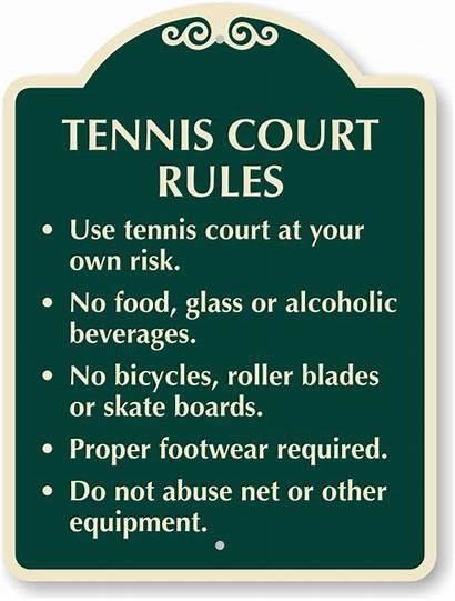 Tennis Court Rules Signs Risk Own