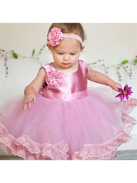 Dress Baby Angsa baby pink lace tulle satin birthday gown