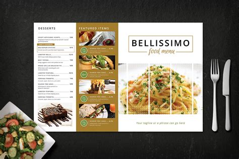modern restaurant menu bellissimo brochure templates