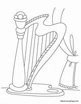 Harp Coloring Pages Template Kidsuki Templates sketch template