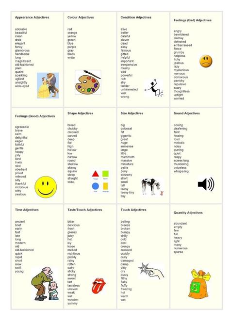 25 best ideas about adjective list on