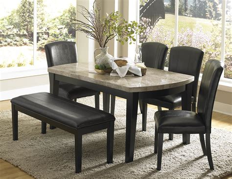 marble top square counter height dining table set in brown