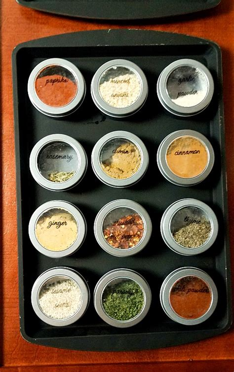 diy magnetic dollar store spice rack   printable spice jar labels