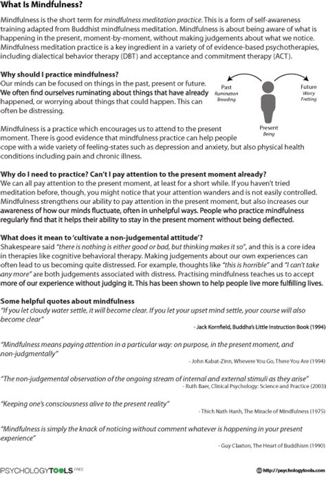 What Is Mindfulness? Worksheet  Psychology Tools