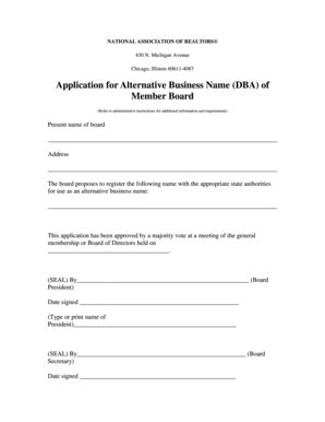 illinois association of realtors forms fillable online realtor 12 2 2010 appl for name change dba