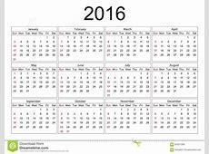 Calendar For 2016 On White Background Stock Vector