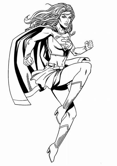 Coloring Supergirl Superwoman Pages Woman Cartoon Clipart