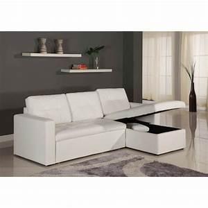 Canapé D Angle Convertible Blanc : canap d 39 angle convertible corto 230cm blanc ~ Melissatoandfro.com Idées de Décoration