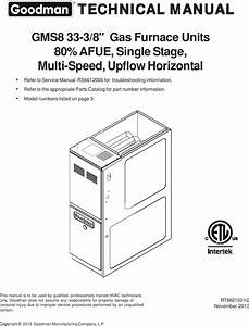 Goodman Mfg Co Lp Furnace Gms8 33 3 8 Gas Units Users Manual