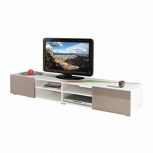 meuble tv blanc 4 niches 2 tiroirs taupe laque maison et With meuble tv 4 niches