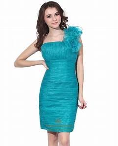 Teal Green Organza Ruched One Shoulder Cocktail Dress With ...