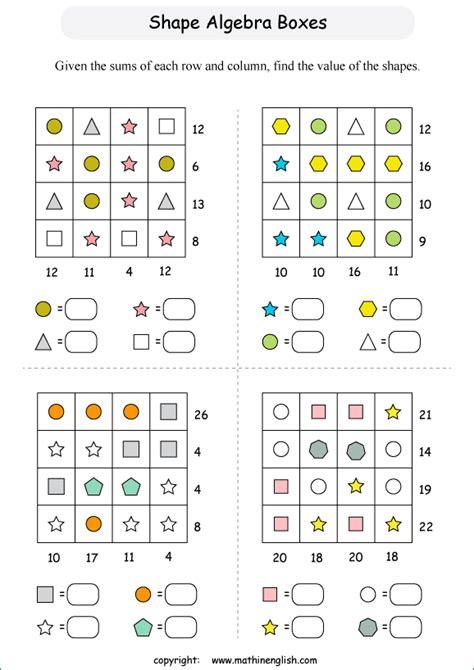 shape equation  shape algebra boxes