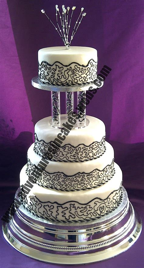 black white  silver wedding cake