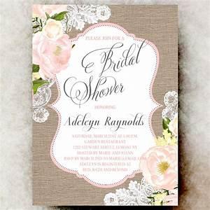 coral grey burlap lace bridal shower invitation shabby With shabby chic wedding shower invitations