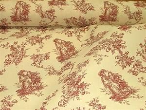 Toile De Jouy : red natural cream linen look toile de jouy curtain upholstery fabric ~ Teatrodelosmanantiales.com Idées de Décoration