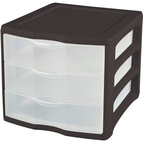 sterilite 3 drawer desktop unit black available in case