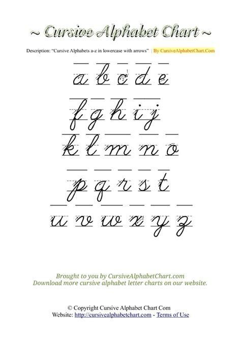 Cursive Alphabet Chart With Arrows Lowercase  Cursive Alphabet Chartcom
