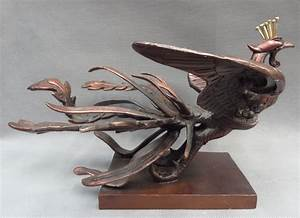 """12"""" Chinese Pure Bronze FengShui Bird Peacock Myth Fly ..."""