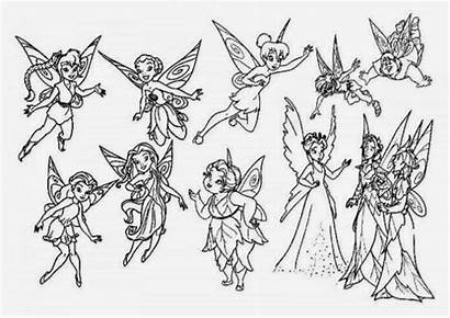 Tinkerbell Coloring Pages Friends Printable Fairy Clip