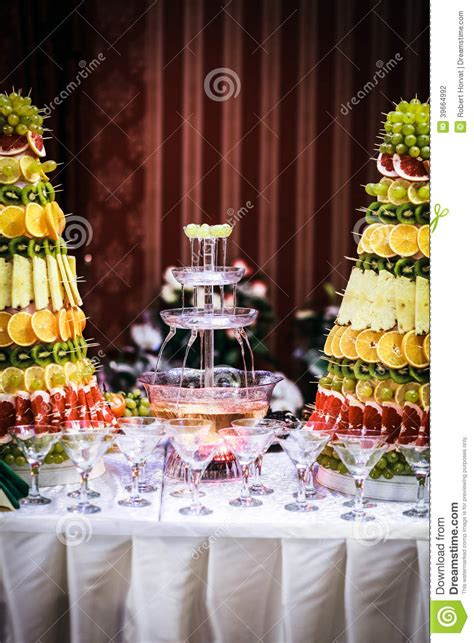 fountain  wine   luxury wedding reception stock photo