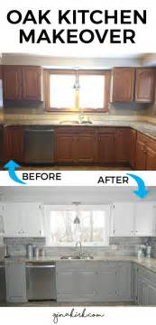 diy painting kitchen cabinets ideas our oak kitchen makeover welcome home subway tile backsplash and grey